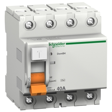 16810 - residual current circuit breaker - 4 poles - 40 A - class AC 30mA, Schneider Electric