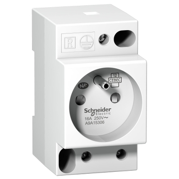 A9A15306 - DIN socket iPC - 2P+E - 16A - 250VAC - NFC 15100 - french std, Schneider Electric