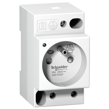 A9A15307 - DIN socket iPC -2P+E -16A-250VAC-NFC15100 -french std-with volt.pres.indic.light, Schneider Electric