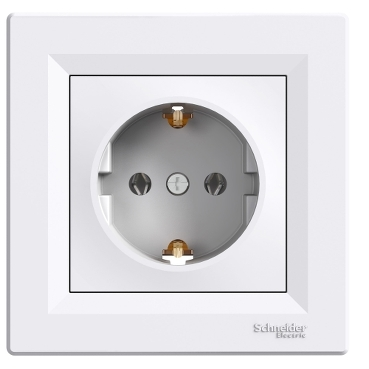 EPH2900121 - Asfora - single socket outlet with side earth - 16A white, Schneider Electric