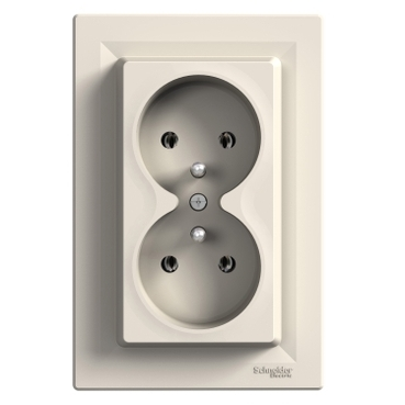 EPH9800223 - Asfora - double socket outlet with pin earth - 16A cream, PL std, Schneider Electric