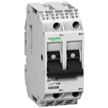 GB2DB16 - TeSys GB2 - thermal-magnetic circuit breaker - 2P - 10 A - Id = 138 A , Schneider Electric
