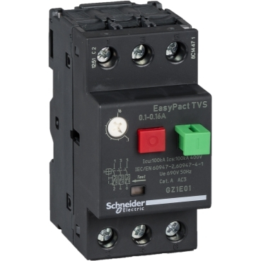 GZ1E01 - motor circuit breaker GZ1 - 3 poles 3d - 0.1..0.16A - thermomagnetic trip unit, Schneider Electric