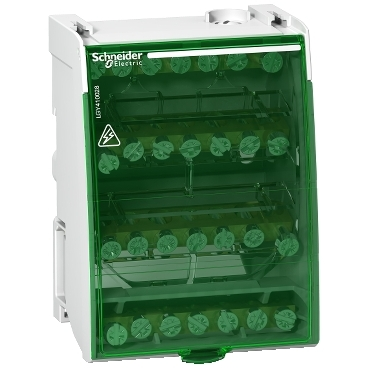 LGY410028 - Linergy DS - screw distribution block 4P - 100A - 28 holes, Schneider Electric