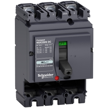 LV438218 - circuit breaker Compact NSX250S DC - 250 A - 3 poles - fixed - without trip unit, Schneider Electric