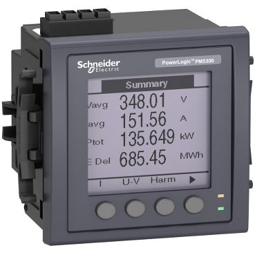 METSEPM5320 - PM5320 powermeter w ethernet - upto 31st H - 256K 2DI/2DO 35alarms - flush mount, Schneider Electric
