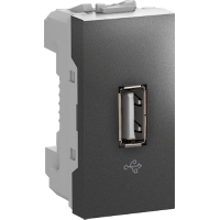 MGU3.429.12 - Unica - USB data connector - 1 module - graphite, Schneider Electric