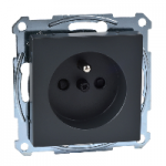 MTN2600-0414 - Socket-outlet with pin earth, shutter, screw terminals, anthracite, System M, Schneider Electric