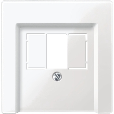MTN296019 - Central plate with square opening, polar white, glossy, System M, Schneider Electric