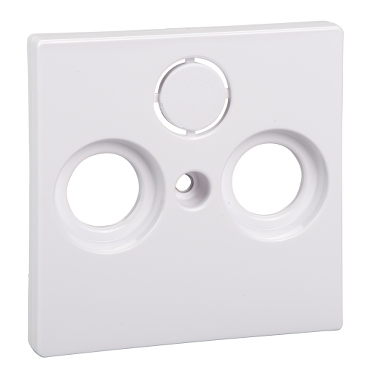 MTN296725 - Central plate for antenna sock.-out.s 2/3 holes, active white, glossy, System M, Schneider Electric