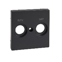 MTN299214 - Central plate marked R/TV+SAT for antenna socket-outlet, anthracite, System M, Schneider Electric