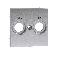MTN299260 - Central plate marked R/TV+SAT for antenna socket-outlet, aluminium, System M, Schneider Electric
