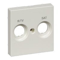 MTN299819 - Cen.pl. marked R/TV+SAT f. antenna sock.-out., polar white, glossy, System M, Schneider Electric