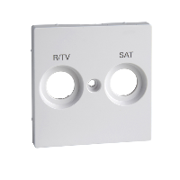 MTN299825 - Cen.pl. marked R/TV+SAT f. antenna sock.-out., active white, glossy, System M, Schneider Electric