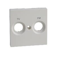 MTN299919 - Central plate marked FM+TV for antenna sock.-out., polar white, glossy, System M, Schneider Electric