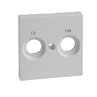 MTN299925 - Central plate marked FM+TV f. antenna sock.-out., active white, glossy, System M, Schneider Electric