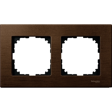 MTN4052-3473 - Wood frame, 2-gang, Walnut, M-Elegance, Schneider Electric