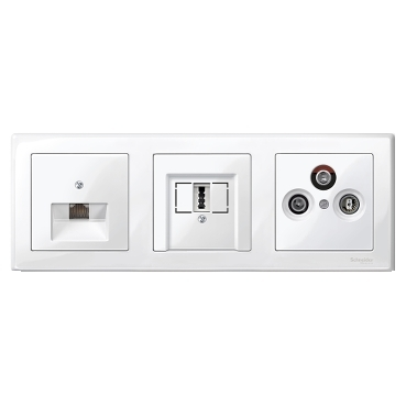 MTN478319 - M-Smart frame, 3-gang, polar white, glossy, Schneider Electric
