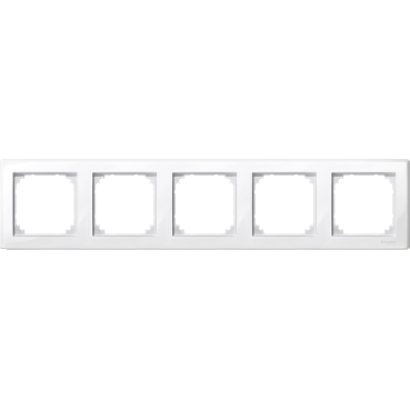 MTN478519 - M-Smart frame, 5-gang, polar white, glossy, Schneider Electric
