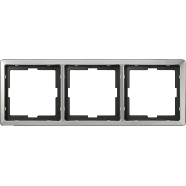 MTN481346 - Artec frame, 3-gang, stainless steel, Schneider Electric
