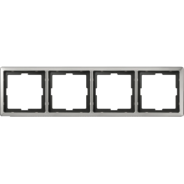 MTN481446 - Artec frame, 4-gang, stainless steel, Schneider Electric