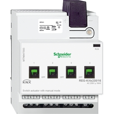 MTN647593 - Switch actuator REG-K/4x230/16 with manual mode, light grey, Schneider Electric