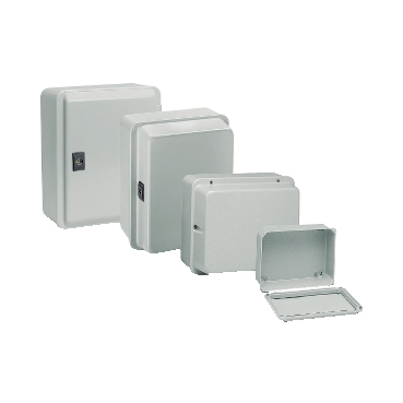 NSYDBN1010 - Metal industrial box - low plain cover - H155xW105xD49 - IP55 - grey RAL 7035, Schneider Electric (multiplu comanda: 10 buc)