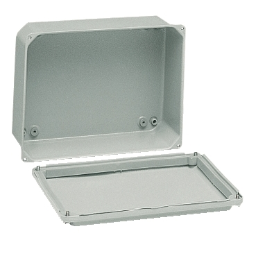 NSYDBN1510 - Metal industrial box - low plain cover - H155xW105xD61 - IP55 - grey RAL 7035, Schneider Electric