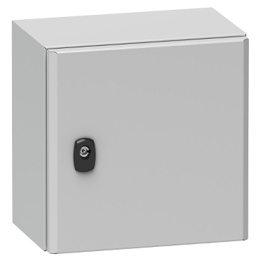 NSYS3D5525P - Spacial S3D plain door with mount.plate. H500xW500xD250 IP66 IK10 RAL7035., Schneider Electric