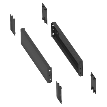 NSYSPS4100SD - 2 side panels for plinth. 400x100mm. Folded sheet steel. RAL 7022. IP 30. IK 10., Schneider Electric