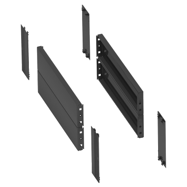 NSYSPS4200SD - 2 side panels for plinth. 400x200mm. Folded sheet steel. RAL 7022. IP 30. IK 10., Schneider Electric