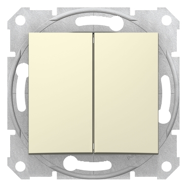 SDN0300147 - Sedna - 1pole 2-circuits switch - 10AX without frame beige, Schneider Electric