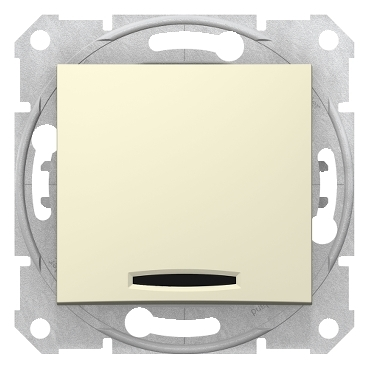 SDN1500147 - Sedna - 1pole 2way switch - 10AX locator light, without frame beige, Schneider Electric