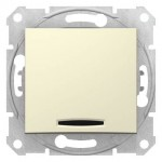 SDN1500247 - Sedna - 1pole 2way switch - 16AX locator light, without frame beige, Schneider Electric