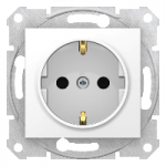 SDN3001721 - Sedna - single socket outlet, side earth - 16A screwl shutt, without frame white