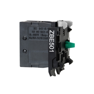 ZBE501 - single contact block for head diametru 22 1NO screw clamp terminal, Schneider Electric
