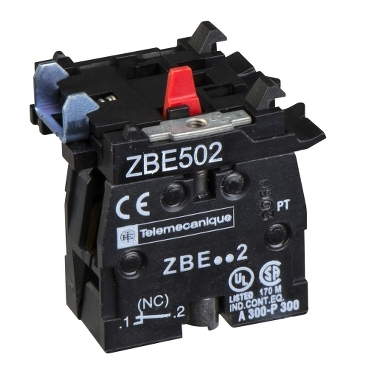 ZBE502 - single contact block for head diametru 22 1NC screw clamp terminal, Schneider Electric