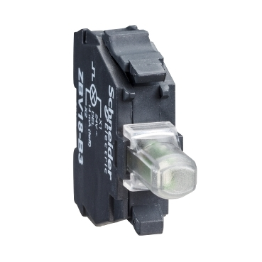 ZBVJ1 - white light block for head diametru 22 integral LED 12V screw clamp terminals, Schneider Electric