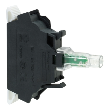 ZBVM35 - green light block for head diametru 22 integral LED 230...240V spring clamp terminals, Schneider Electric